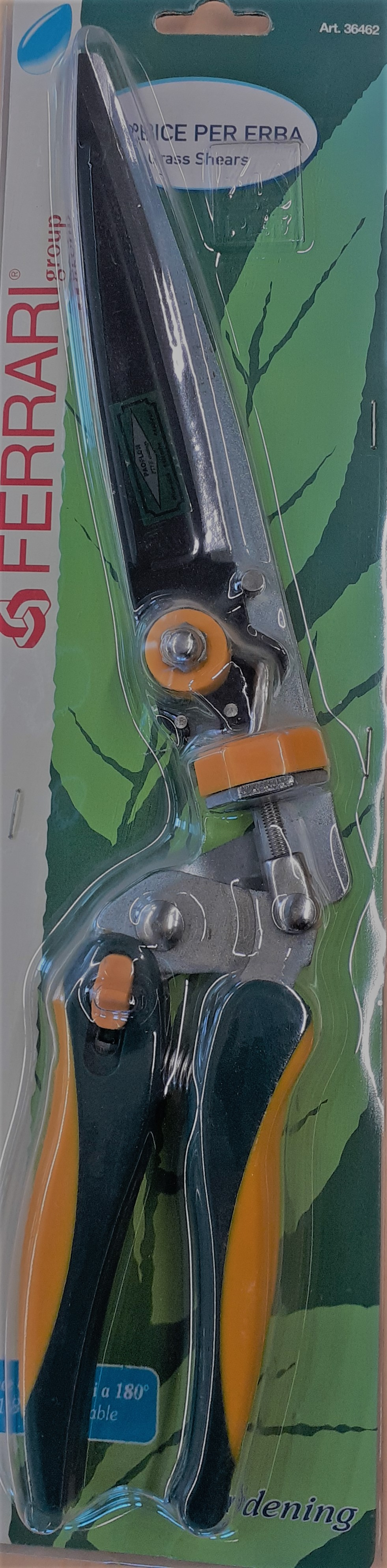 Ruohosakset, pituus 37 cm, kiertyvä terä, kelta-vihreä, pak