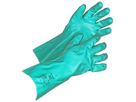 Kemikaalisuojakäsine Sol-vex,koko 8,nukattukeskivahva nitriilikäsine
