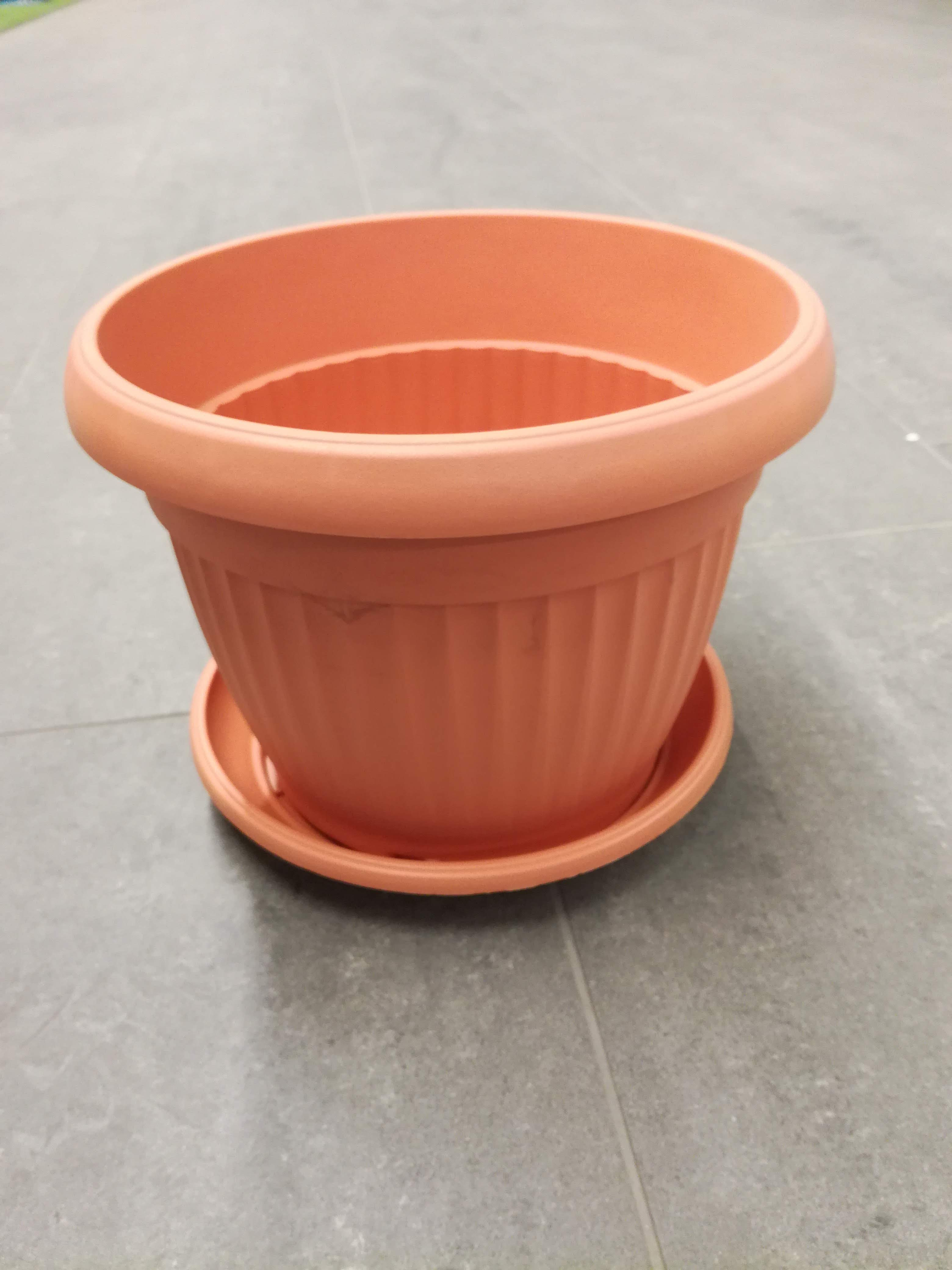 Pyöreä ruukku ja lautanen  35cm, similcotto,vaaleaterracotta 5 kpl